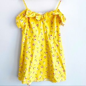 Lush off shoulder dress yellow floral print L